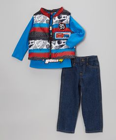 This Disney•Pixar Cars Blue & Red Cars Puffer Vest Set - Toddler by Disney•Pixar Cars is perfect! #zulilyfinds