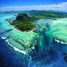 Underwater waterfall Mauritius island nation in the Indian Ocean