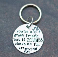 Zombie Keychain  Hand Stamped Key Chain  by YourSentimentsInc, $14.00