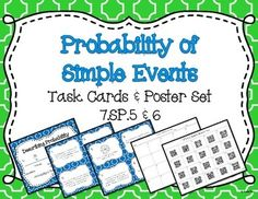 Get your students engaged with this set of 20 task cards! The set is aligned with common core standard 7.SP.5 and 7.SP.6 which can be easily printed using the standards posters. Students can use the content posters to help them describe and determine the probability of simple events while solving the 20 task cards.