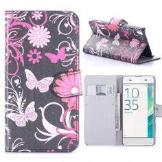 Sony Xperia XA kukkia ja perhosia puhelinlompakko.