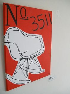 Eames Rocker Painting on Etsy, $195.00