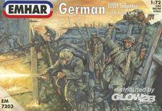 WWI German Infantry & Tank Crew    48 unpainted figures, scale 1:72.