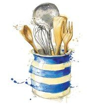 Новости Kitchen Drawing, Kitchen Artwork, Cornishware, Kitchen Utensils, Cooking Utensils, Watercolor Food, Watercolor Illustration, Watercolor Paintings, Cook Art