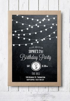 Perfect birthday invitations for a Bon fire theme! black and white Edison Globe by RMcreative