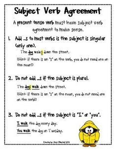 Subject Verb Agreement Anchor Chart, Subject Verb Agreement Anchor Chart, Subject Verb Agreement Practice Worksheet with key Subject-Verb Agreement Practice Sheets subject-verb agreement worksheet. Teaching Grammar, Teaching Writing, Student Teaching, Teaching English, English Grammar, Basic Grammar, Grammar Lessons, Writing Resources, Teaching Ideas