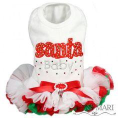 Santa Baby White Christmas Dog Dress by Toni Mari.  puprwear.com