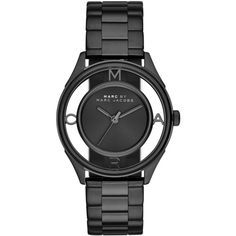 Marc by Marc Jacobs Tether Skeleton Black IP Stainless Steel Bracelet... (€255) ❤ liked on Polyvore featuring jewelry, watches, apparel & accessories, black, skeleton bracelet, skeleton wrist watch, stainless steel watches, blue dial watches and stainless steel jewelry