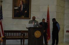 Past & Present Arkansas African American Legislators, 2/11/2014, Arkansas State Capitol.   Arkansas Representative Frederick J. Love with a Resolution recognizing his support of the Curtis H. Sykes Memorial Grant Program