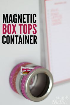 Check out these super simple collection containers for Box Tops! The Box Tops fit perfectly through the little opening and they are magnetic so they stay on your fridge. So easy!