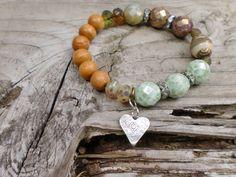 """Mixed Greens Bracelet """"Alki Point"""" Sandalwood Artisan Glass Sterling Heart Charm Czech Glass  BoHo Luxe Harbor Girl Designs by HarborGirlDesigns on Etsy https://www.etsy.com/listing/196282466/mixed-greens-bracelet-alki-point"""