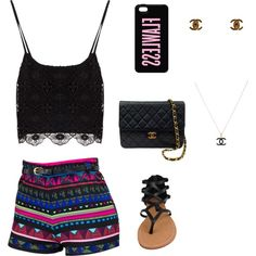 A fashion look from July 2014 featuring Dollhouse sandals, Chanel clutches and Chanel necklaces. Browse and shop related looks.