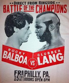Rocky III - Balboa Vs Lang - 1982 Classic Movie / White T-Shirt / Sizes - M,L,XL Check It Out...!!!  #Rocky #GraphicTee