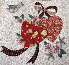 Vintage Valentine block made by Janet Beyea by Janet BA Quilt Block Patterns, Applique Patterns, Applique Quilts, Quilt Blocks, Quilting Projects, Quilting Designs, Bird Quilt, Shabby Fabrics, Hand Applique