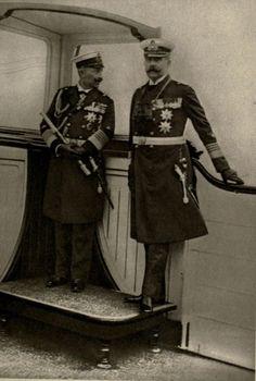 "Archduke Franz Ferdinand and Kaiser Wilhelm II on board of the ""Hohenzollern"". Circa 1906"