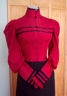 Red Silk Bodice, circa 1890-95