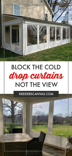 Use your porch year round by installing clear vinyl drop curtains. When the weather turns in-climate simply roll down the curtains and fasten the side Deck Curtains, Roll Up Curtains, Outdoor Curtains For Patio, Diy Porch, Diy Patio, Porch Ideas, Porch Vinyl, Deck Enclosures, Vinyl Panels