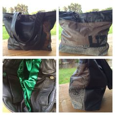 Leather tote bag made from upcycled jackets - made for my friend Liz. By K8Created in Tasmania