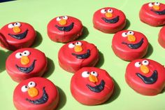 Elmo oreos - dipped in red candy melts and decorated with icing.  Madden