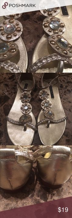 Laundry by Shelli Segal Gold gorgeous sandals. Only sign of wear on bottom. Heals great and inside of shoe , straps , stones, perfect ❤️ Laundry by Shelli Segal Shoes Sandals