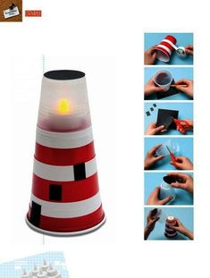 Lighthouse made from plastic cups! Would be darling as cheap, DIY table decor for a nautical party (of course you should only use fake candles! Vbs Crafts, Church Crafts, Bible Crafts, Camping Crafts, Boat Crafts, Art For Kids, Crafts For Kids, Arts And Crafts, Kids Diy