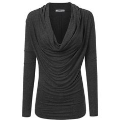 Doublju Soft Knit Cowl Neck Blouse Top (Made In USA Plus size... ($16) ❤ liked on Polyvore featuring tops, blouses, women's plus size tops, knit top, cowl neck knit top, womens plus tops and plus size knit tops