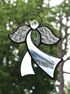 Stained Glass Awareness RIBBON ANGEL Suncatcher, Wispy White on Iridescent Clear, Rainbow Iridescent Wings, USA Handmade