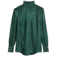 Pre-owned Balmain X H&m Top (505 CAD) ❤ liked on Polyvore featuring tops, blouses, none, green top, puffy sleeve blouse, stand-collar blouses, one sleeve blouse and puff shoulder blouse