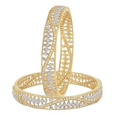 M Creation Designer Gold Plated Bangles Bg380 (pack Of 2)