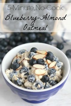 This No-Cook Blueberry-Almond Oatmeal recipe is the perfect last-minute summer breakfast! Whip it up in just moments! Or, make it the night before as Overnight Oats - so breakfast is ready when you are! Easy and refreshingly delicious! ~ from Two Healthy Kitchens at www.TwoHealthyKitchens.com