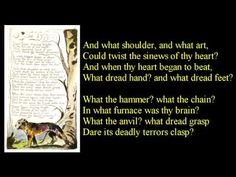 ▶ Tyger! Tyger! burning bright ~ poem reading with text - YouTube  William Blake