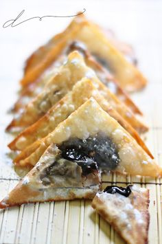 Chocolate Stuffed Wonton Wrappers (could use jam)