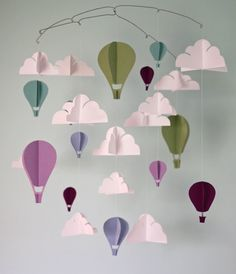 Lilac and Green Hot Air Balloon Paper Mobile (L). $85,00, via Etsy.