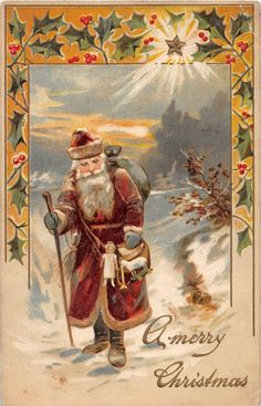 Santa Claus Merry Christmas Holiday Postcard 1906 Toys Walking Stick Star 529 | eBay