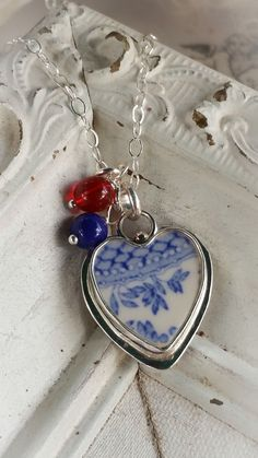 Blue Willow Vintage Broken China Jewelry Sterling Necklace Patriotic