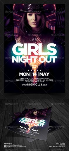 Girls Night Out Flyer Template — Photoshop PSD #clean #summer • Available here → https://graphicriver.net/item/girls-night-out-flyer-template/7626729?ref=pxcr