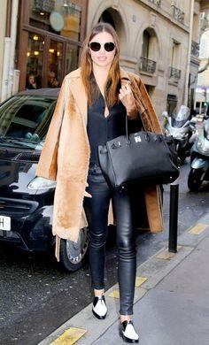 Tan Oversized Coat + Cropped Leather Pants + Patent Leather Oxfords  On Kerr: Rag & Bone Lambskin Dre Skinny Jeans ($980); Manolo Blahnik Rorita Oxfords ($795).