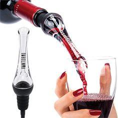 Wine Pourers - Vintorio Wine Aerator Pourer  Premium Aerating Pourer and Decanter Spout Black *** Click image to review more details.