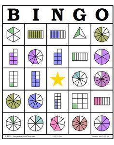 Bingo fracciones. Tarjetas  http://neoparaiso.com/imprimir/bingo-de-fracciones/bingo-de-fracciones.pdf