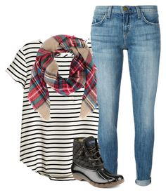 """""""stripes and plaid..? yay or nay"""" by ameliahinton ❤ liked on Polyvore featuring H&M, Current/Elliott and Sperry Top-Sider"""
