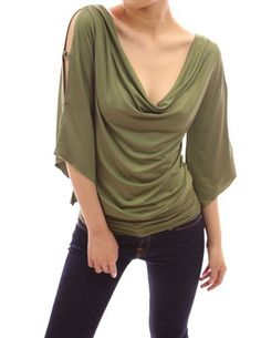Patty Women Sexy Cowl Neck Cut Out Asym Sleeve Casual Blouse Top (Green M) Patty,http://www.amazon.com/dp/B006B3APXW/ref=cm_sw_r_pi_dp_.7YJrb13B70F4BBD