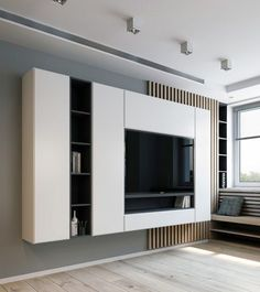 Modern Tv Wall Unit Designs for Living Room - Modern Tv Wall Unit Designs for Living Room , Tv Unit Design Inspiration for Your Home — Best Architects Tv Wand Design, Room Interior, Home Interior Design, Apartment Interior, Apartment Living, Home Theather, Dressing Design, Tv Feature Wall, Tv Wall Cabinets