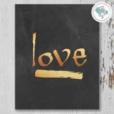 Love Gold Printable Wall Art