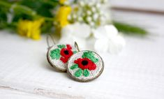 Red poppies small earrings Summer flower boho earrings Simple rustic jewelry Small flower earrings Dainty red earrings for remembrance day