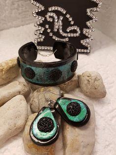 Armband und Ohrringe grün Transfer  aus Polymerclay. https://natascha-neugebauer.jimdo.com