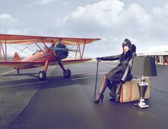 40 airplane, woman, aviation,fly, lamp, Amelia Earhart - Lamp Hedemann