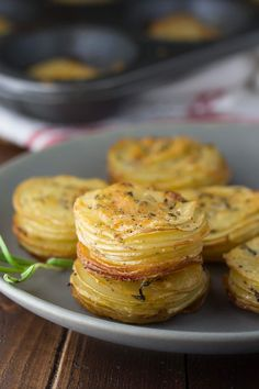 These potato stacks are a delicious potato side dish recipe that looks impressive but is super easy to make! Great as a holiday side dish.