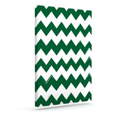 "KESS Original ""Candy Cane Green"" Chevron Outdoor Canvas Wall Art"