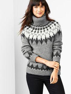 Oversize fair isle turtleneck sweater