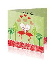 Geboortekaartje meisje met rood bloemenpatroon - Leintjes:http://kaartjesparadijs.nl/winkel/geboortekaartje-meisje-met-rood-bloemenpatroon-leintjes/